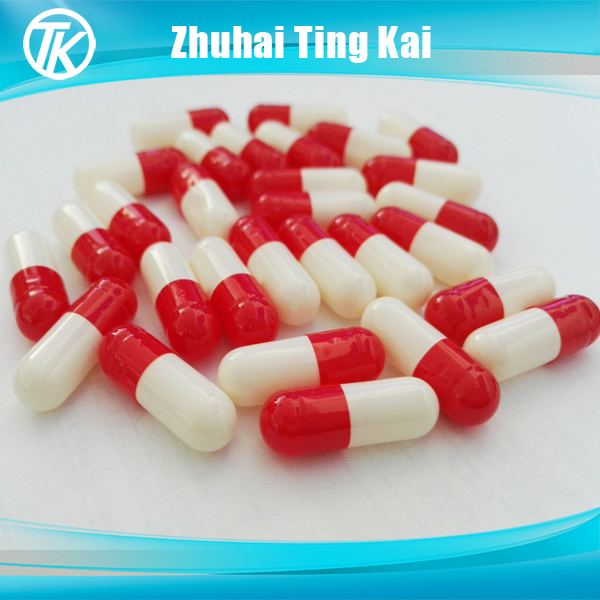 Red and white size 00 empty pill capsules