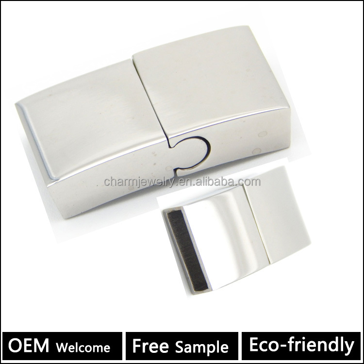 BX070 Wholesale buckle fit flat leather bracelet clasp 316L stainless steel magnetic clasp Jewelry Clasp 3MM