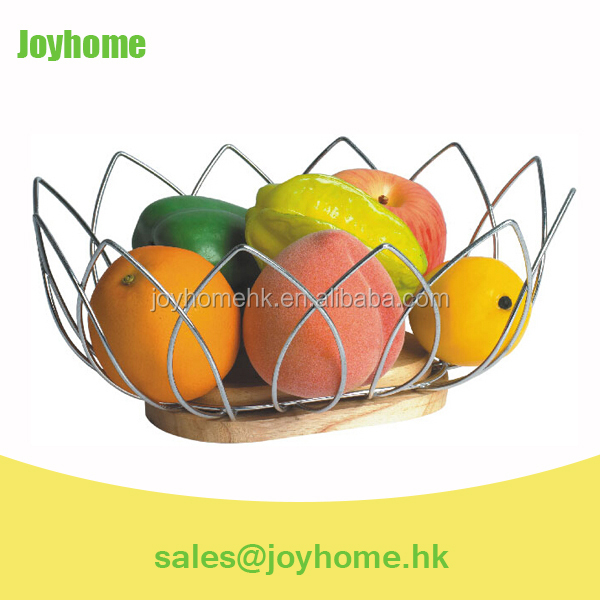 artificial flowers stainless steel fruit basket stand