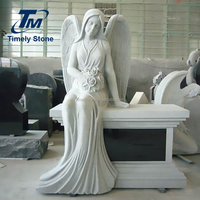 Angel granite carved memorial stone gravestone with cad drawing