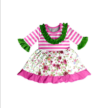 Latest design western girls stripes flower baby girl net dress for wholesale