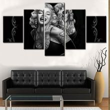 Wholesale giclee printing modern painting 5panels abstract black and white women canvas print