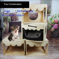Factory supply best-selling nest house bed,cat ladder roof can be opened wooden dog house