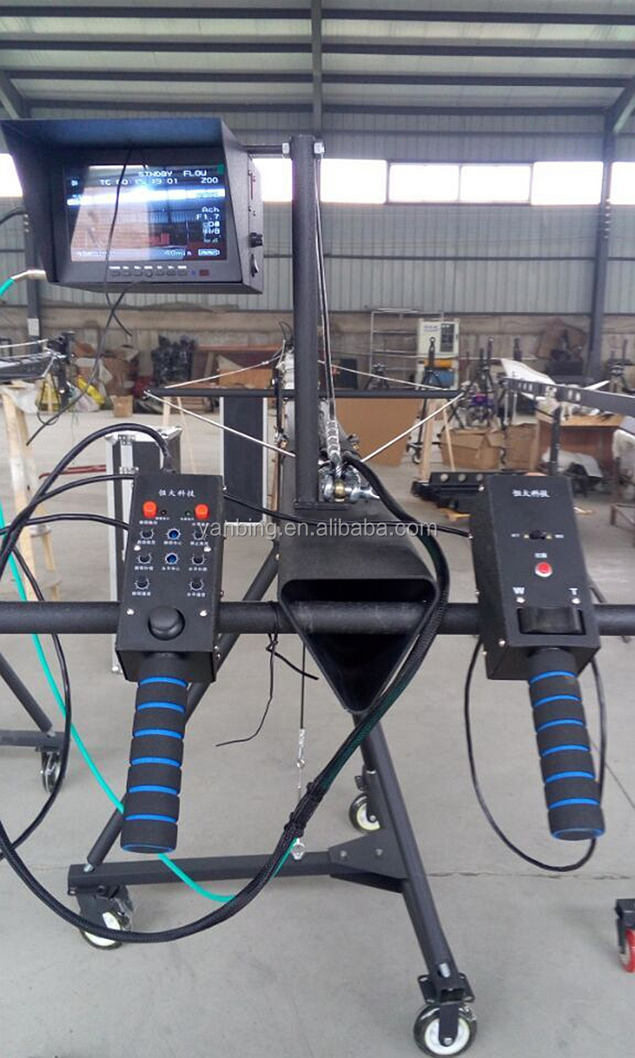 Professional 8m DV camera jib crane for TV video filming with 2-axis motorized head