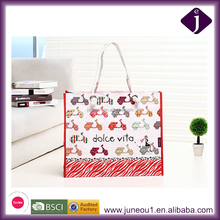Wholesale Fashion Design White Ink Printing PP Woven Laminated Bag Portable Shopping Bags