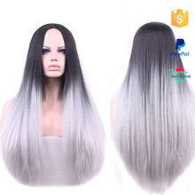 Black and Grey Human Hair Long Straight Hair Synthetic Silky Wig