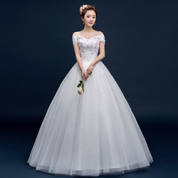 Z92221B The new color three-dimensional petals show thin one word shoulder flat shoulder wedding dress wholesale