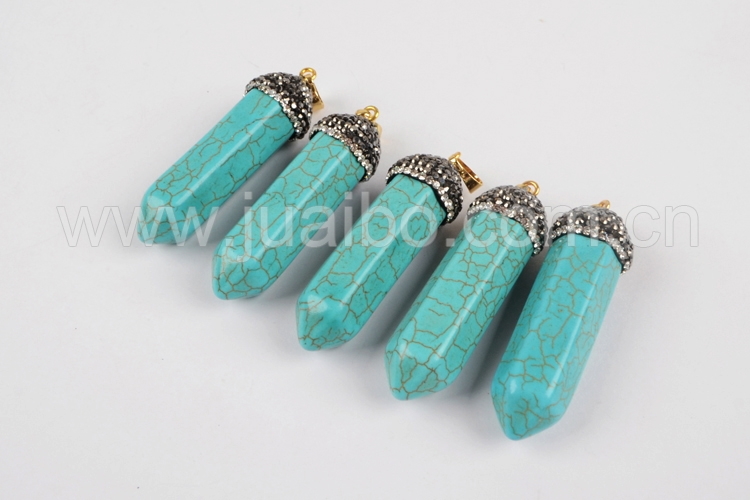 Rhinestone Pave Blue Natural White Howlite Turqouoise Point Pendant JAB638