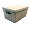 Cuboid Decoration Polyster ramie Storage Box with removable Lid