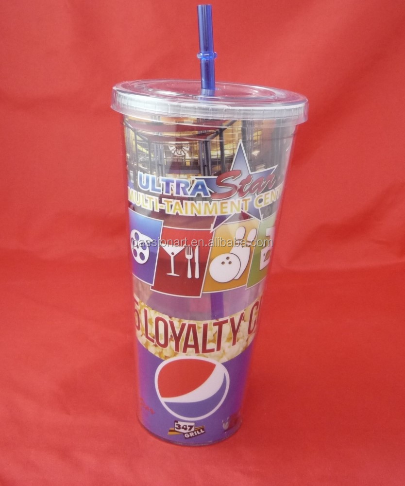 Hot sale BPA free Double wall advertising tumblers with lid and straw