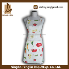 Fresh fruits and vegetables printed cooking apron with pocket
