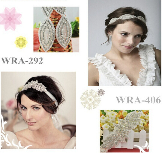 Gunmetal beads crystal applique for wedding dress WRA-481