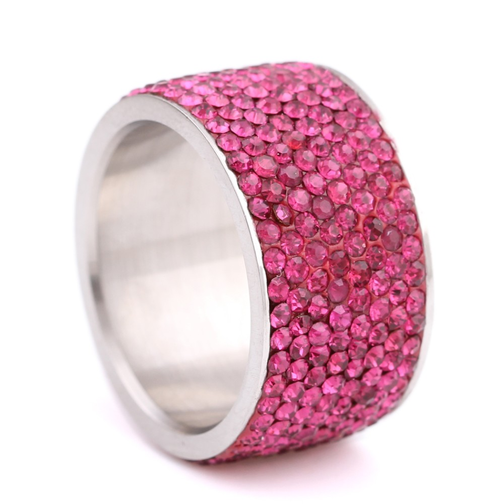 Wholesale 8 Rows Crystal Broad Rings For Women Wide Multicolor ...
