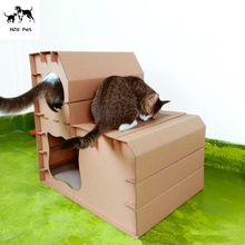 Factory manufacture cardboard cat house,paper pet house,corrugated cat house