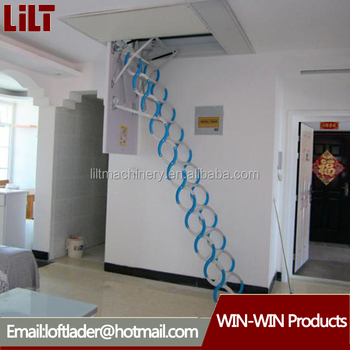 Hydraulic Electric Folding Attic Ladders, Telescopic Ladder Attic/automatic  Loft Ladder