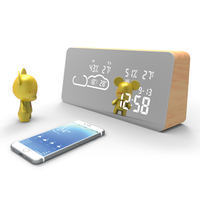 best selling home smart wooden design wireless wifi weather station S743N with mirror surface
