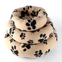 Paw Printed Round Pet Bed For Dog And Cat