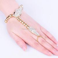 Fashion jewelry 14k gold snake bangle bracelet with diamond jewelry ring