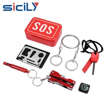 Emergency Survival SOS Kits Gear Set Bundle First Aid Tools Fire Starter Compass Pocket Knife Whistle Multi-function Saber Card