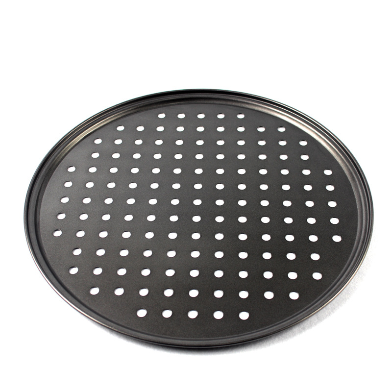 "Round Carbon Steel Pizza Tray Non Stick Bakeware PTFE Coated Pizza Pan With Holes cookware 12"" Pizza Tray"