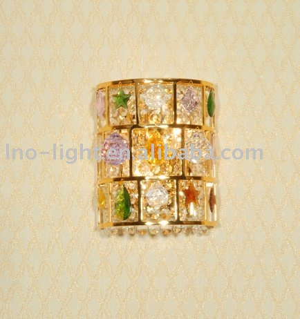 European decorative light crystal hanging wall sconce