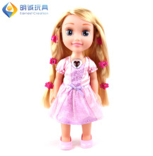 New Product 14inch Musical Fashion Lovely Baby Girl Doll Toy with Flashing Light Hairstyle