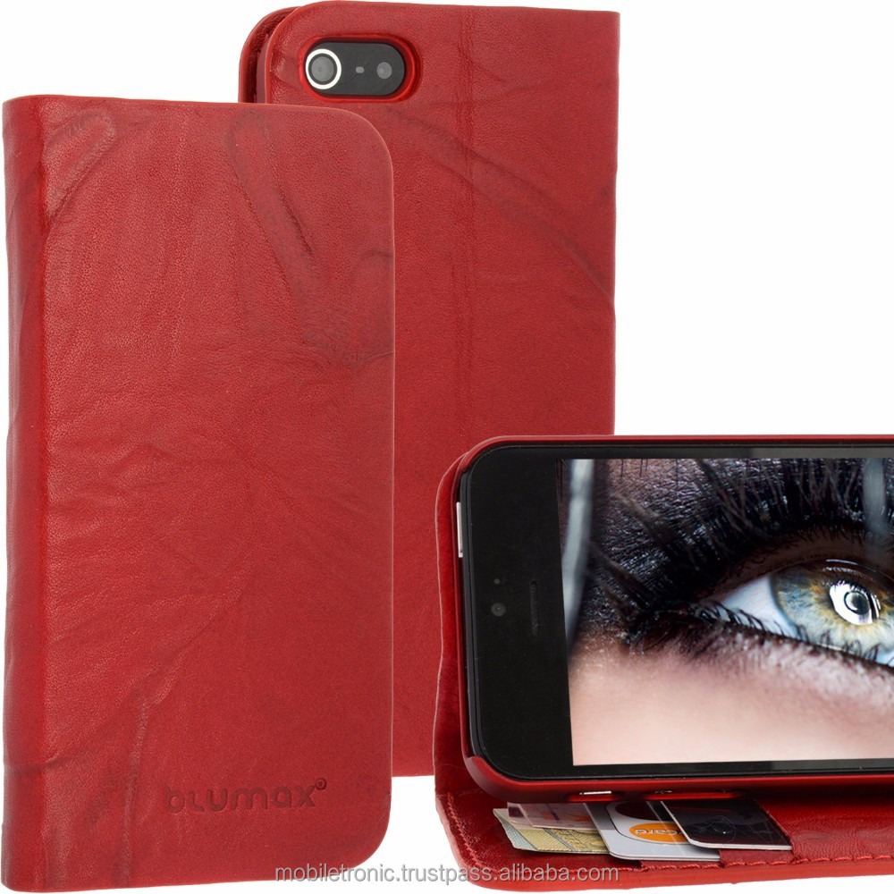 Geniune Leather Lucca Bookstyle case for iPhone 5S / 5 Washed Red Cow Leather