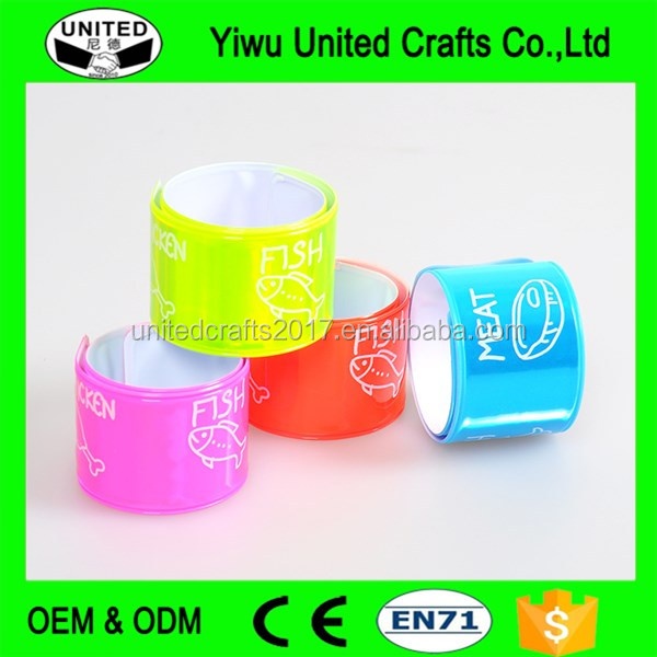 Custom promotion Reflective Slap Bands reflex Snap Wrap bands Wholesales