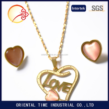 On sale Stainless Steel Multi-Color Heart Love Necklace Pendant & Studs Earring Jewelry Set For Women and Girls