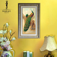 Hand painted wall hanging wooden frame beacutiful handpainted peacock oil painting