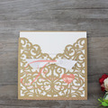 Bow Gold Wholesale Cheap Pocket Laser Cut Wedding Invitations