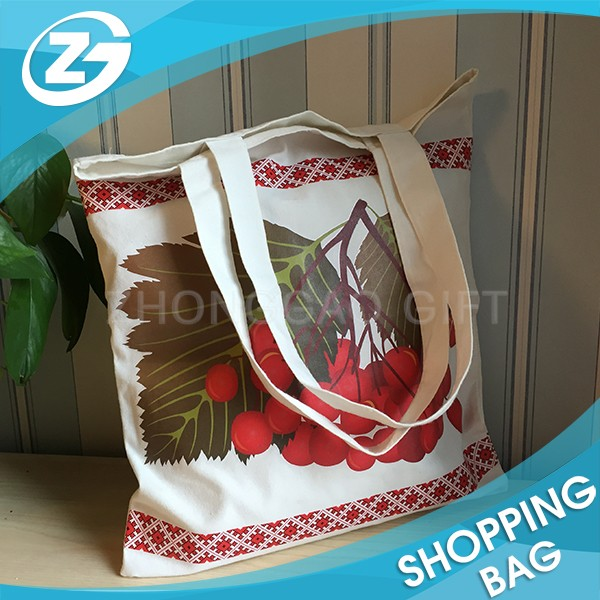 Grocery Shopping Promotion Custom Eco Canvas Cotton Carry Bag