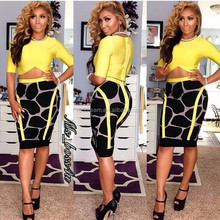 two Pieces set Half Sleeve Knee Length Yellow And Grey Leopard Print Sexy Bodycon HL Bandage Dress
