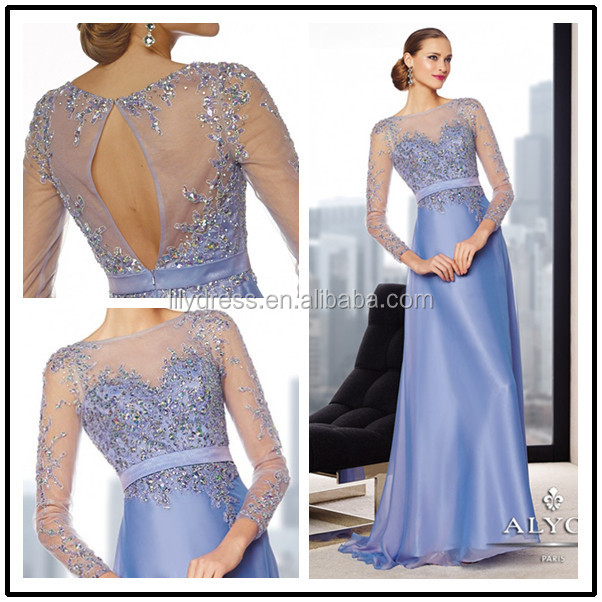 Purple Long Sleeve Beading Custom Made Floor Length Long Evening Party Wear MD029 sex mother of the bride dress