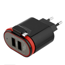 Folding Plug 5V 3.4A 2 port USB travel phone charger with FCC CE ROHS