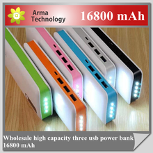 2015 New Portable Charger 3 USB power bank 16800mah for samsung/iphone