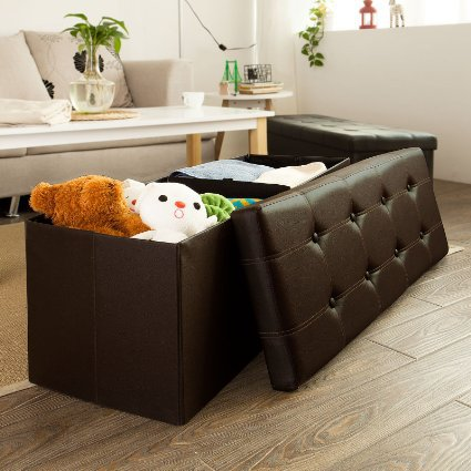 bw folding doll storage boxes with 10 buttons pvc leather home furniture storage ottoman doll storage boxes
