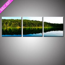 3 Piece Art Painting Wall Clock Acrylic Landscape Paintings on Canvas
