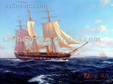 Handpainted boat scenery oil painting