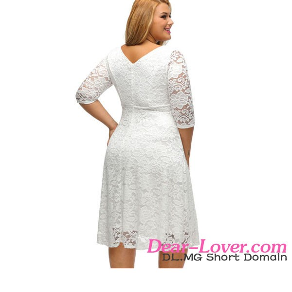 Elegant Ladies Floral Sleeved Fit and Flare Curvy Plus Size Lace Dress