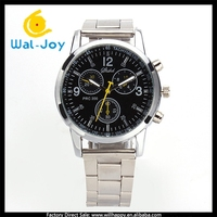 WJ-4579 Fashion three eyes six pin waterproof stainless steel chain wrist watch multifunction business wrist watch