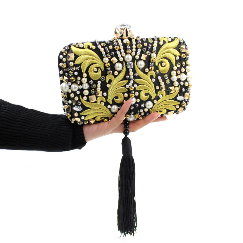 Hot selling nobler embroidery black tassel box clutch bag women evening bag