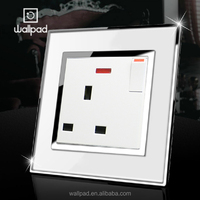 Hot Selling Wallpad Acrylic Glass 110~250V LED Indicator European UK Electrical 13A UK Wall Switch Socket Outlets