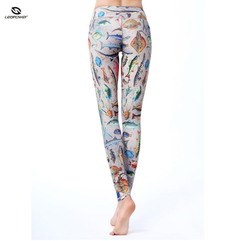 High Waisted Sublimated Printed Supplex Slim Fit Yoga Pants Sex Girl