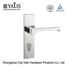 Polished Chrome Wooden or Metal Door Removable Handle Lever Door Lock with Square Plate