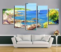5 Piece Art Set! Seascape Landscape! 100% Hand painted Oil Painting On Canvas Top Home Decoration paint