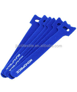 Customized Blue Wire Strap Tie Adjustable Hook And Loop Cable Tie