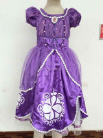 New Styles Girl princess dress 5-6 Years Sofia The First New Fancy Dress Costume Princess Kids Girls