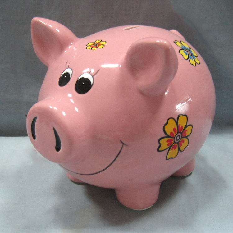 Ceramic Piggy Money Box with Flower Printing Bulk Sale Cheap Pig Coin Bank