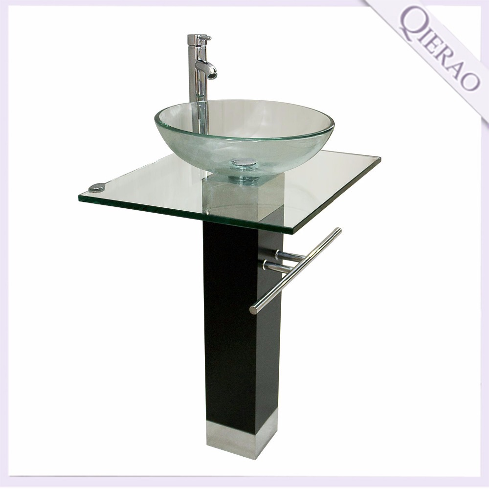 Modern Tempered Glass Sink Bathroom Vanity with towel bar